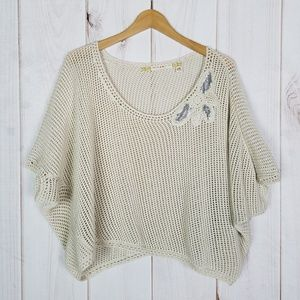 Chelsea & Violet Ivory Slouchy Open Weave Top XS